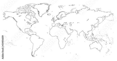 Keuken foto achterwand Wereldkaart vector high detailed outline of world map