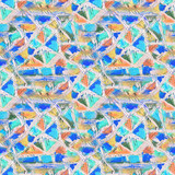 Mosaic seamless pattern. Abstract stained-glass mosaic background. Geometric pattern background
