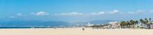Pacific Ocean Coastline Panorama In Los Angeles USA. People Walking At The Beach. California Beaches Panorama.