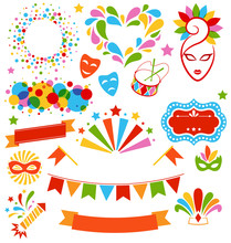 Set Collection Of Festive Colorful Carnival Masquerade Icons Iso