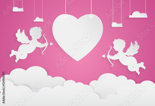 Photographie happy valentine day,heart shape and cupid on sky, Paper art styl