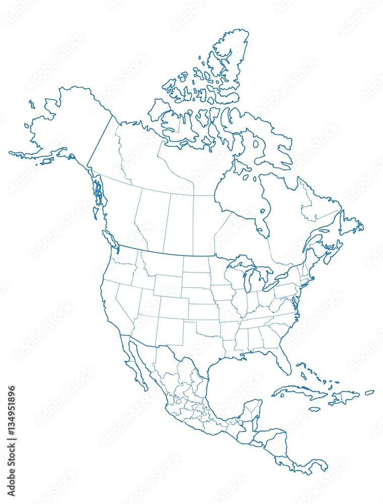 Fototapety, obrazy: North America map