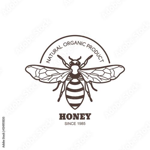 Vector Vintage Honey Label Design Outline Honeybee Logo Or Emblem