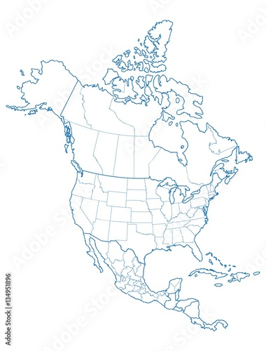 North America map Wall mural