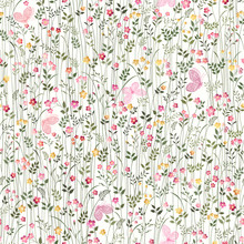 Seamless Floral Pattern With Meadow Flowers And  Butterflies On White Background