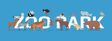 Zoo Park With Animals Banner Isolated.