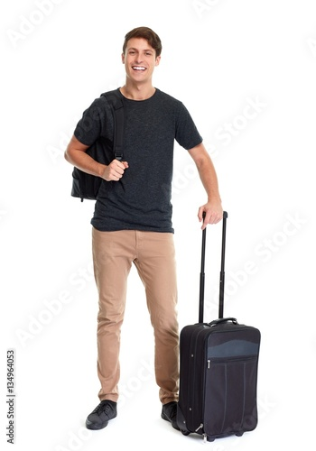 Tourist man with trunk
