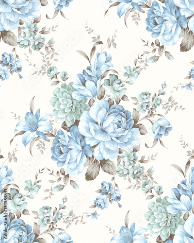 Spoed Foto op Canvas Vintage Bloemen Fresh spring flowers seamless pattern - For easy making seamless pattern use it for filling any contours
