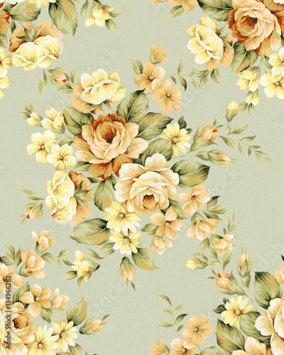 Montage in der Fensternische Vintage Blumen Fresh spring flowers seamless pattern - For easy making seamless pattern use it for filling any contours