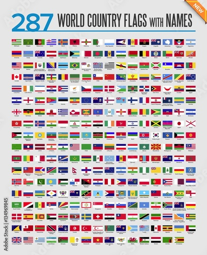 Obraz world country flag icon set - fototapety do salonu