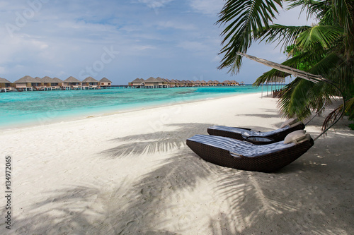 Fototapety, obrazy: Sunbeds on sand beach at tropical island resort