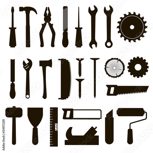 Set of icon tools black color for carpentry service