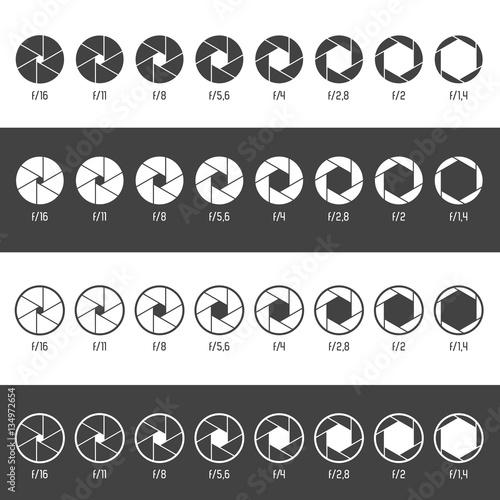 Fotografía  Aperture icon set. Vector Illustration