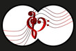 Binoculars view, Heart - violin and bass clef, Music note stave and heart violin and bass clef,
