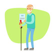 Old Man With Walking Stick Holding Insurance Contract , Insurance Company Services Infographic Illustration