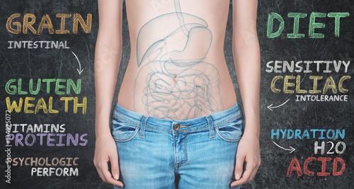Valokuva  Pancia di donna con scritte per celiaci