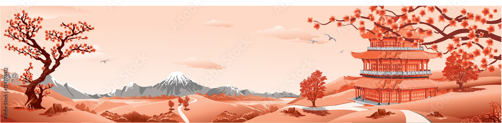 Fototapety, obrazy: Panorama of nature, Asia Palace, volcano, mountains, rivers, and hills with trees. The Sakura flowers. Vector illustration