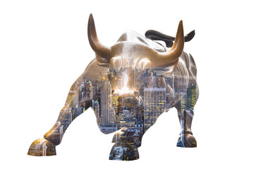 FototapetaNEW YORK CITY - MAR 26: The landmark Charging Bull in Lower Manhattan represents aggressive financial optimism and prosperity March 26, 2015 in New York, NY, United States of America.