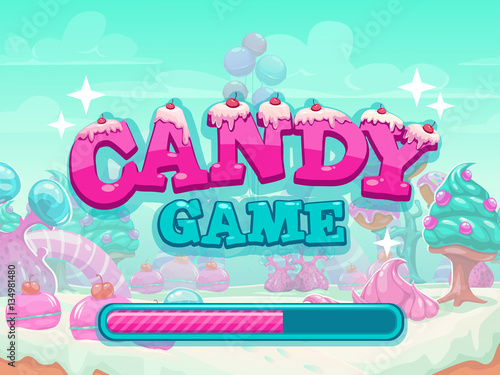 Wall Murals Green coral Candy game title loading screen.