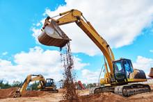 Excavator At Sandpit During Ea...