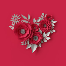 3d Illustration, Decorative Red Paper Flowers, Valentine's Day Background, Floral Heart