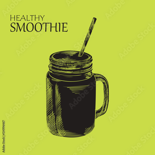 Hand drawn smoothie silhouette isolated on green background. Eco healthy ingredients vector illustration. Great for poster, banner, voucher, coupon. Fototapete