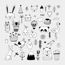 Modern Cute Animals And Nature Elemets Black And White Hand Draw