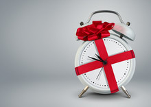 Clock In Gift Ribbon On Grey, Time To Gift Cocept, Copy Space.