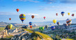 canvas print picture - The great tourist attraction of Cappadocia - balloon flight.