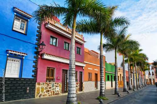 Colourful houses and palm trees on street in Puerto de la Cruz, Tenerife, Canary Islands Fototapeta