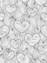 Seamless Pattern With Abstract Waves And Hearts. Zentangle Inspired Style.