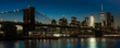OCTOBER 24, 2016 - BROOKLYN NEW YORK - Brooklyn Bridge and NYC skyline seen from Brooklyn at Sunset