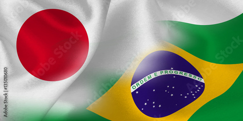 Fotografie, Obraz  日本 ブラジル  国旗 背景