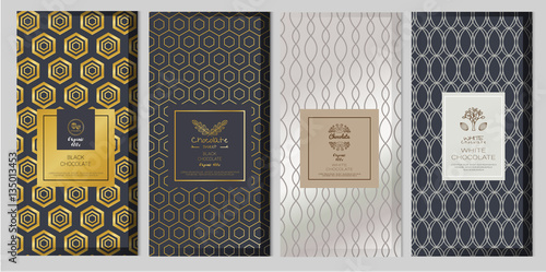 fototapeta na ścianę Chocolate bar packaging mock up set. Trendy luxury product branding template with label and geometric pattern. vector