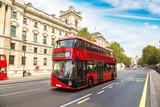 Fototapeta Londyn - Modern red double decker bus, London