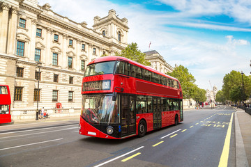 Modern red double decker bus, London