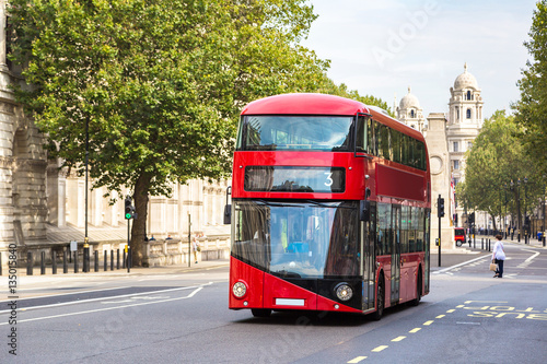 Leinwand Poster Modern red double decker bus, London