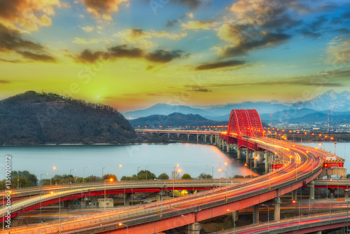 The sun set of Banghwa bridge at seoul,Korea Poster