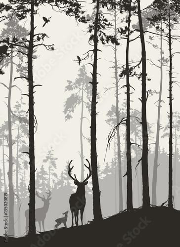 sylwetka-lasu-sosnowego-z-rodzina-jeleni-i-ptakow-brazowe-kolory-ilustracji-wektorowych