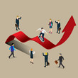 businessman skating on profit chart with isometric concept