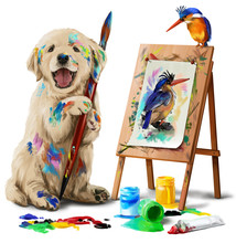 Puppy The Artist Draws The Bird