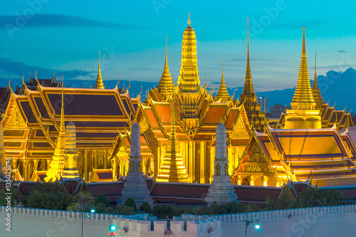 Wat Phra Kaew, Temple of the Emerald Buddha,Grand palace at twilight in Bangkok, Poster