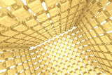 Abstract geometric background with golden cubes