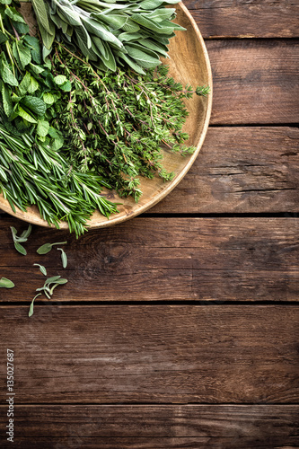 Fotografiet  various fresh herbs, rosemary, thyme, mint and sage on wooden background