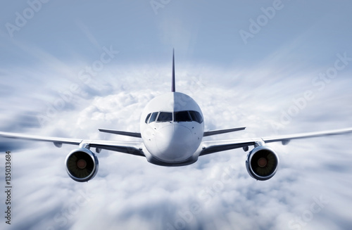 Airplane above the clouds Canvas Print