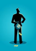 Man Hiding A Money Bag Behind His Back
