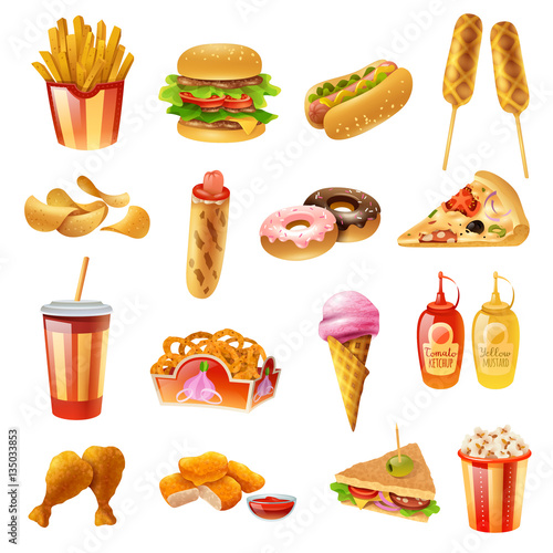 Fast Food Menu Colorful Icons Set Poster