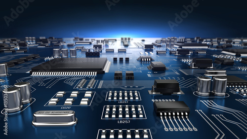 Fotografie, Obraz  High tech electronic PCB (Printed circuit board) with processor and microchips
