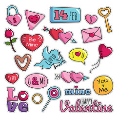 Modern Cute 80s-90s Isolated Valentine Fashion Cartoon Illustration Set Suitable for Badges, Pins, Sticker, Patches, Fabric, Denim, Embroidery and Other Girly Related Purpose