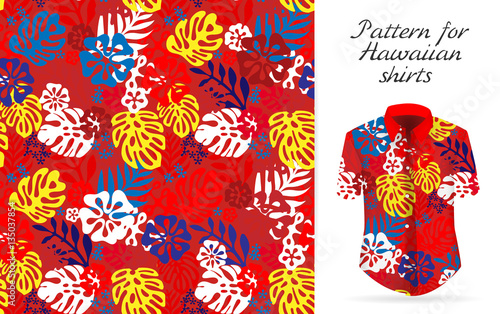Cotton fabric Hawaiian aloha shirt. an icon in a flat style isolated on white background